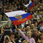 ART ECh-Moscow/RUS 2013: spectators with RUS-flag