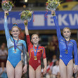 ART-ECh Bern/SUI - 2016: podium womens junior floor, GOLGOTA Denisa ROU + KINSELLA Alice GBR + PEREBINOSOVA Uliana RUS